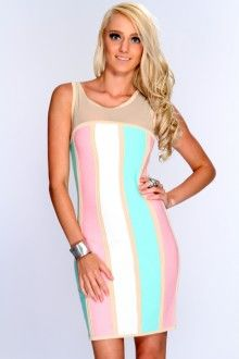 Beige Multi Striped Mesh Cut Out Sexy Bandage Dress