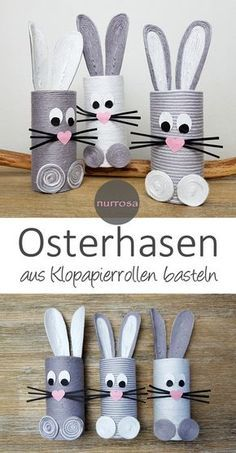 Osterhasen aus Klopapierrollen basteln DIY Basteltipp zu Ostern Basteln mit Kind… Easter bunnies from toilet paper rolls make DIY crafting tips for Easter crafts with children Bunny Crafts, Easter Crafts For Kids, Diy For Kids, Easter Ideas, Craft Kids, Easter Bunny, Easter Eggs, Easter Table, Felt Bunny