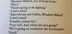 """""""We're going to overthrow the government."""" """"Good.""""<<< Mabeuf was one of my favorite characters!"""