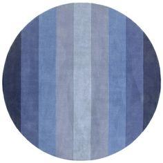 Hand-tufted Blue Stripe Wool Rug (8' Round)
