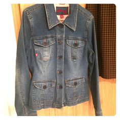 Fitted Denim Jacket Fitted styling with stretch denim distressed-look size L but IMO would better suit a MEDIUM good used condition Plugg Jackets & Coats Jean Jackets