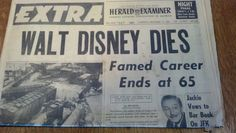 Death takes Walt Disney newspaper article :(