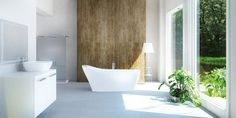 Kylpyamme sijoitetaan nyt kylpyhuoneen paraatipaikalle. Viherkasvit näyttävät hyvältä myös kylppärissä. Amme: baltecon Cosmo-kiviamme │ Laattapiste