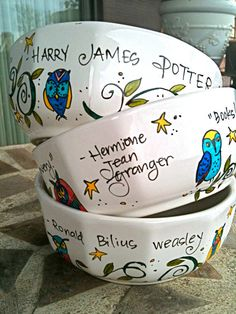 Potter-y! Bowls for Harry, Hermione, & Ron