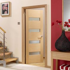 Monaco Oak Flush Veneer Door with Linea Frosted Safety Glass is Lacquer Pre-Finished. Contemporary Internal Doors, Contemporary Interior, Oak Glazed Internal Doors, Flush Door Design, Veneer Door, Flush Doors, Architrave, Door Sets, Modern Door