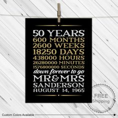 Pas Wedding Anniversary Gift Ideas 50 Years Of Marriage Printable Print Or Canvas Options