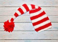 newborn crochet elf hat for girl or boy red by SweetBabiesinYarn, $18.50