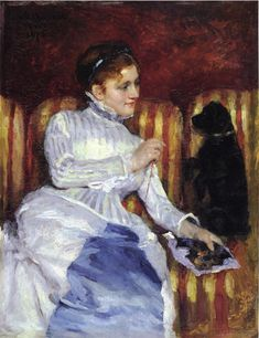 Woman on a Striped with a Dog (also known as Young Woman on a Striped Sofa with Her Dog) by @m_cassatt #impressionism