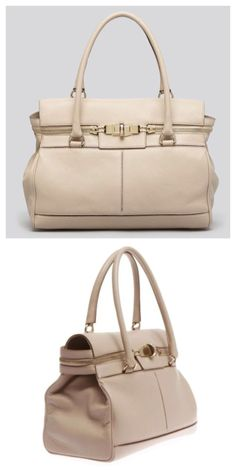 "Max Mara SS 2014 Collection: Soft and luxurious deerskin ""Margaux"" handbag with two handles and gold tone double-lock zip detail. Available in cream and tan deerskin leather.  Price on request."