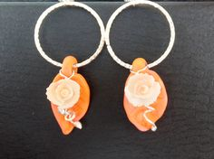 June ABS - Summer rose earrings - leaf charms made by Jennifer Tough of Toronto.