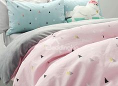 Fashion Concise Triangle Print Pink 4-Piece Cotton Duvet Cover Sets #bedding #bedroom