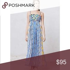 ✨ANTHROPOLOGIE✨ RANNA GILL beaded maxi dress , empire waist, full-length dress from Anthropologie. Color is multi-color. Made of 100% polyester. Retails for $228.00 These come from a smoke free and pet free home! Anthropologie Dresses Maxi