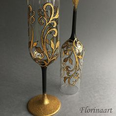 Gothic wedding glasses Gothic glitter glasses Gold by FLORINAART