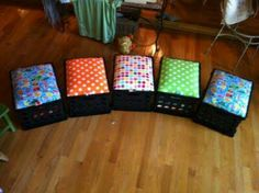 Milk crate seats. Could even store movies in them!