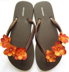 "The ""Rachel"" Brown Flip Flop Sandal with Orange flowers - great for beach - wedding - bridesmaid gift"