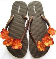 "The ""Rachel"" Brown Flip Flop Sandal with Orange flowers - great for beach - wedding - bridesmaid gift"