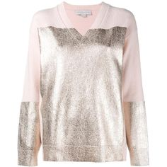 Stella McCartney contrast v-neck jumper (2379505 PYG) ❤ liked on Polyvore featuring tops, sweaters, pink, ribbed sweater, long sleeve v neck sweater, pink v neck sweater, long sleeve sweater and pink long sleeve top
