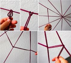 Creating the DIY yarn spider web DIY Halloween Decorations: Spooky Spider Web And A Giant Spider!