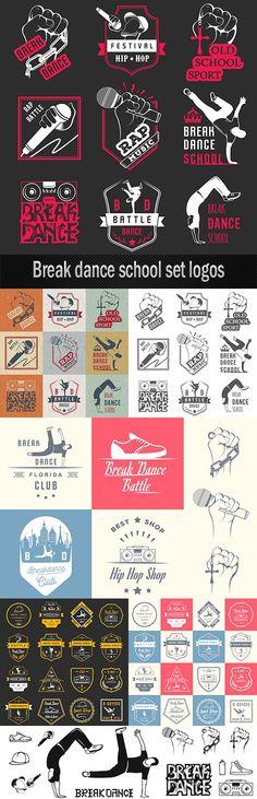 Break dance school set logos