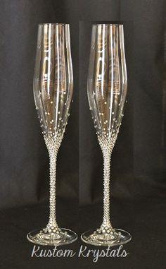 """RTS 11"""" Custom Swarovski Crystal embellished Toasting Flutes, Champagne flutes, toasting glasses. custom. personalized. wedding flutes."""