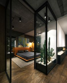 Loft by YoDezeen - Architecture and Home Decor - Bedroom - Bathroom - Kitchen And Living Room Interior Design Decorating Ideas - Small Apartment Bedrooms, Apartment Bedroom Decor, Small Apartments, Bedroom Loft, Apartment Interior, Apartment Design, Apartment Ideas, Modern Loft Apartment, Masculine Apartment