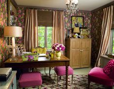 Pink & Lime Green Home Office Design