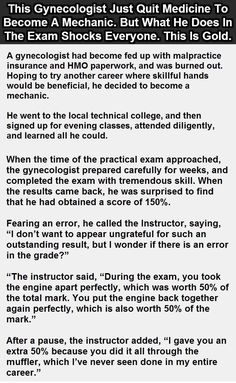 This Gynecologist Quit Medicine To Become A Mechanic But What He Does In The Exam Room Shocks Everyone funny quotes quote jokes story lol funny quote funny quotes funny sayings joke humor stories