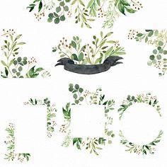 Watercolor Leaf, Watercolor Cards, Illustration Blume, Botanical Illustration, Flower Frame, Flower Boxes, Photoshop, Framed Leaves, Wreath Drawing