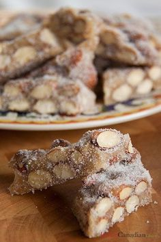 Torrone - a homemade kind typical of southern Italy including Calabria and Sicily that is dark and more like a brittle