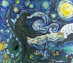 That's no cypress tree, it's Godzilla! Painted in acrylic with some oil paints on top Starry Godzilla Black Panthers, Vincent Van Gogh, Cartoon Meme, Godzilla Vs, Godzilla Tattoo, Wow Art, Arts Ed, Animation, Museum