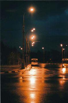 Dark, wet street.