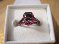 Genuine Black Diamond U0026 Pink Sapphire Black Rhodium 925 Sterling Silver  Halo Engagement / Wedding Ring