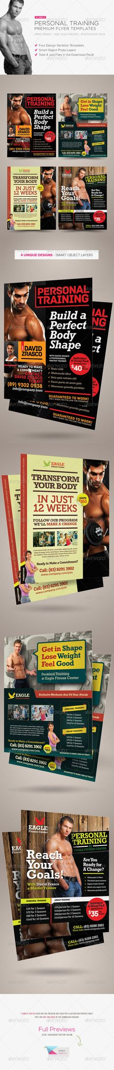 Personal Training Flyers are design templates created for sale on Graphic River. More info of the template and how to get the template sourcefiles can be found on this page, http://graphicriver.net/item/personal-training-flyers/5143213?r=kinzi21