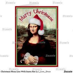 Mona Lisa s Santa Hat Card by #I_Love_Xmas #Spoofingthearts #Gravityx9