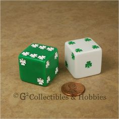 Green and White Lucky Shamrock Dice Pair. St Paddys Day, St Patricks Day, Skeleton Keys, Clovers, Dice Games, Puppet, Diy Cards, Karma, Jasmine