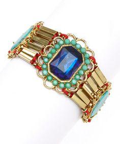 Loving this Blue & Gold Stone Sky Bracelet on #zulily! #zulilyfinds