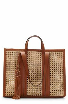 Find and compare Vince Camuto Indra Woven Rattan & Leather Tote across the world's largest fashion stores! Tote Handbags, Leather Handbags, Fashion Handbags, Leather Purses, Tote Bags, Leather Handle, Leather Bag, Canvas Leather, Designer Shoulder Bags