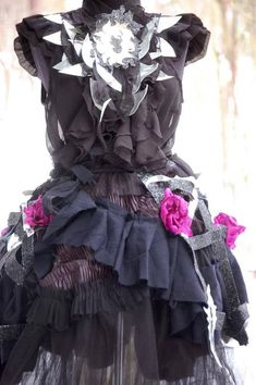 Dress wedding dress, black dress, fantasy dress, cage dress, long black , vampire, tutu skirt, noire, goth , Victorian,size medium, women