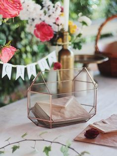 Glass boxes make the perfect card holders for your wedding