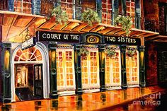Court of the Two Sisters Restaurant in New Orleans - by Diane Millsap Sisters Art, Two Sisters, Sisters Images, Jazz Painting, New Orleans Art, New Orleans French Quarter, Thing 1, Ways Of Seeing, The World's Greatest