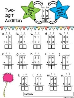 Two-Digit Addition Worksheets {with and without regrouping}