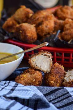 Crunchy Popcorn Chicken Nuggets and Honey Mustard Sauce
