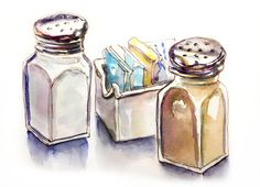 Day 19 - Urban Picnic - Salt and Pepper - Urban Sketching - Doodlewash Art Alevel, Food Sketch, Sketch Journal, Watercolor Journal, Charcoal Art, Sketches Tutorial, Watercolour Tutorials, Watercolor Ideas, Pencil And Paper