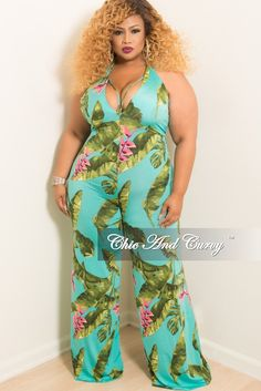 f6357ae4843 New Plus Size Halter Spaghetti Strap Jumpsuit with Wide Legs in Teal Green  and Pink Leaf Print. Chic And CurvyPink ...