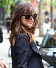 Dakota Johnson Anastasia Steele Bang Haircut New