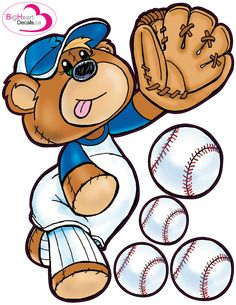 Baseball Bear 1 from Big Heart Decals Inc. Made in Canada. Fabric stickers or wall decals for nursery or kids playrooms. Sticks on walls, windows and flat surfaces.  Movable, removable, no residue.  Price: $30.00
