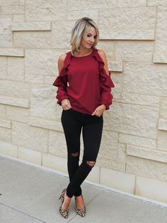 Pretty fall style, ruffle cold shoulder blouse, black distressed jeans, leopard heels, tiaras and heels blog Fashion 2017, Fashion Outfits, Womens Fashion, Fashion Trends, Fashion Bloggers, Casual Outfits, Cute Outfits, Distressed Black Jeans, Girl Celebrities