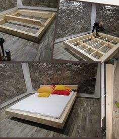Enhance Your Dream with Our Amazing Floating Bed Frame Design Ideas - Bett - Bed Frame Design, Diy Bed Frame, Bed Design, Cool Bed Frames, Simple Bed Frame, Floating Bed Frame, Floating Platform Bed, Platform Beds, Diy Platform Bed Frame