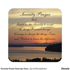 Serenity Prayer Seascape Sunset Photo Coaster Set