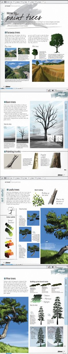 How to Paint Trees - Corel Painter Magazine - Digital Painting Tutorials for Beginners - bildzeichnen Digital Art Tutorial, Drawing Artwork, Corel Painter, Painter, Graphic Design Lessons, Tree Of Life Artwork, Digital Painting Tutorials, Tree Painting, Digital Painting